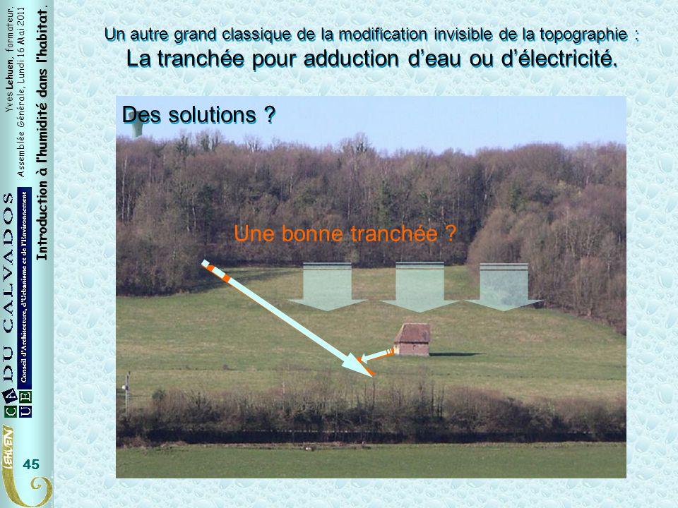 Yves Lehuen, formateur. Assemblée Générale, Lundi 16 Mai 2011 Introduction à lhumidité dans lhabitat. 45 Un autre grand classique de la modification i