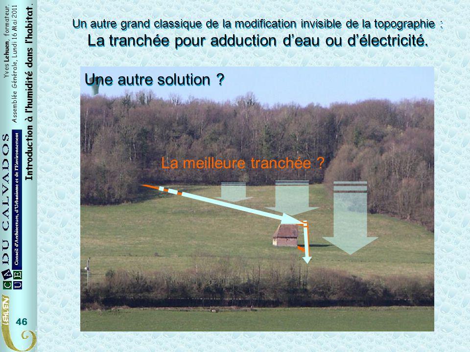 Yves Lehuen, formateur. Assemblée Générale, Lundi 16 Mai 2011 Introduction à lhumidité dans lhabitat. 46 Un autre grand classique de la modification i