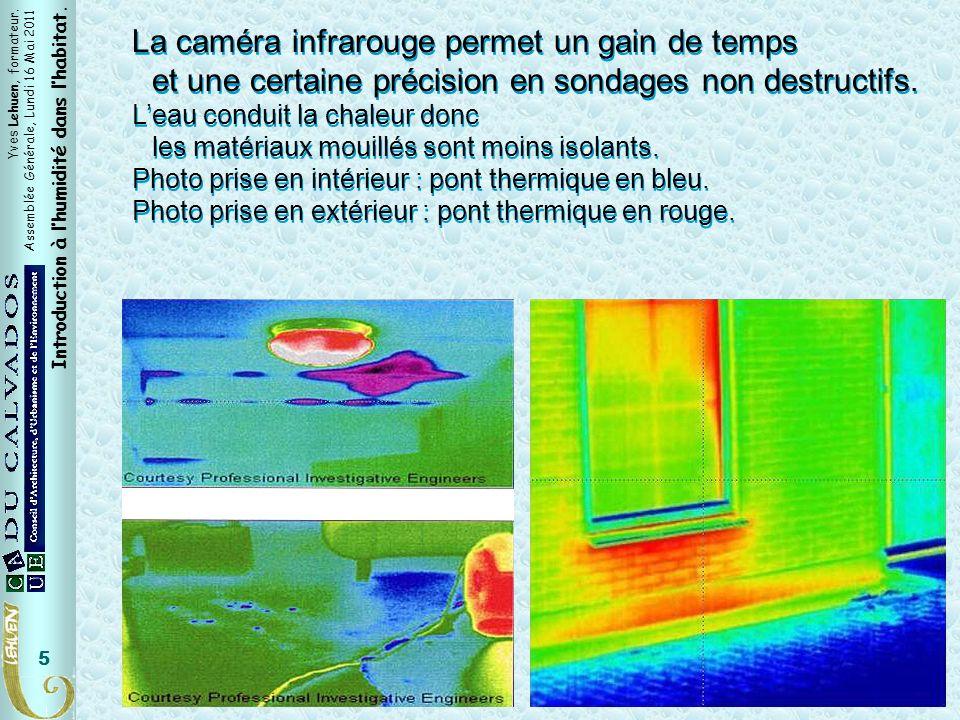 Yves Lehuen, formateur. Assemblée Générale, Lundi 16 Mai 2011 Introduction à lhumidité dans lhabitat. 5 Caméra infrarouge La caméra infrarouge permet