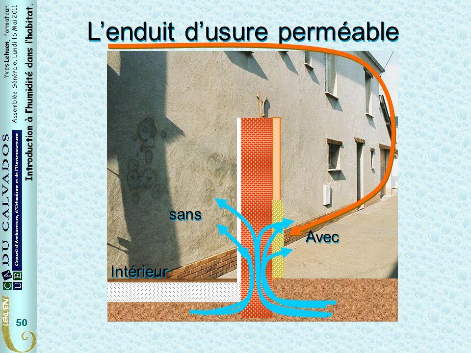 Yves Lehuen, formateur. Assemblée Générale, Lundi 16 Mai 2011 Introduction à lhumidité dans lhabitat. 50 Intérieur Lenduit dusure perméable sans Avec