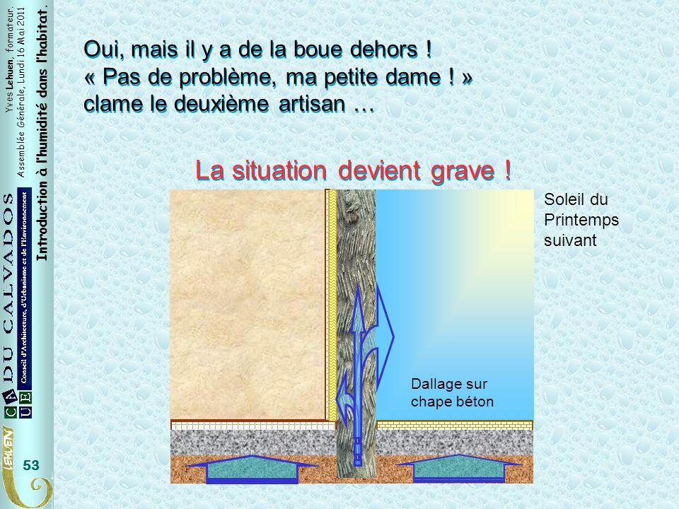 Yves Lehuen, formateur. Assemblée Générale, Lundi 16 Mai 2011 Introduction à lhumidité dans lhabitat. 53 Oui, mais il y a de la boue dehors ! « Pas de