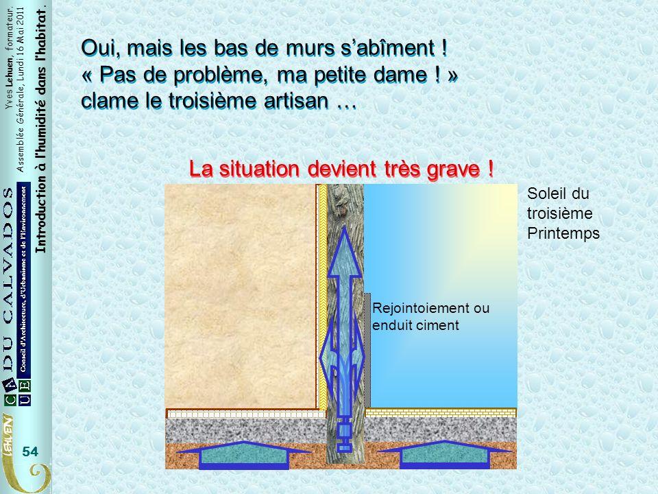 Yves Lehuen, formateur. Assemblée Générale, Lundi 16 Mai 2011 Introduction à lhumidité dans lhabitat. 54 Oui, mais les bas de murs sabîment ! « Pas de