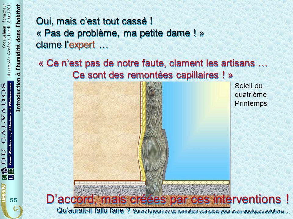 Yves Lehuen, formateur. Assemblée Générale, Lundi 16 Mai 2011 Introduction à lhumidité dans lhabitat. 55 Oui, mais cest tout cassé ! « Pas de problème
