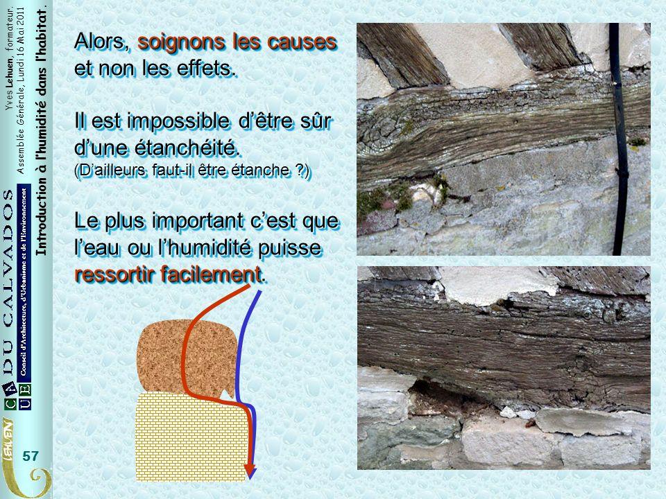 Yves Lehuen, formateur. Assemblée Générale, Lundi 16 Mai 2011 Introduction à lhumidité dans lhabitat. 57 Alors, soignons les causes et non les effets.