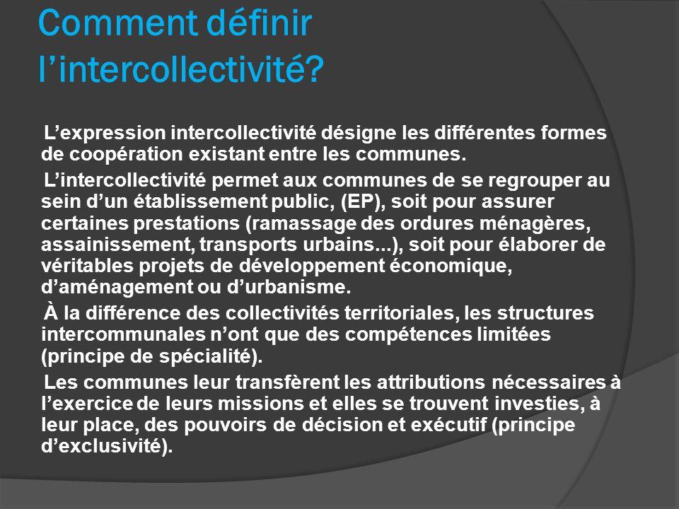 Comment définir lintercollectivité? Lexpression intercollectivité désigne les différentes formes de coopération existant entre les communes. Lintercol