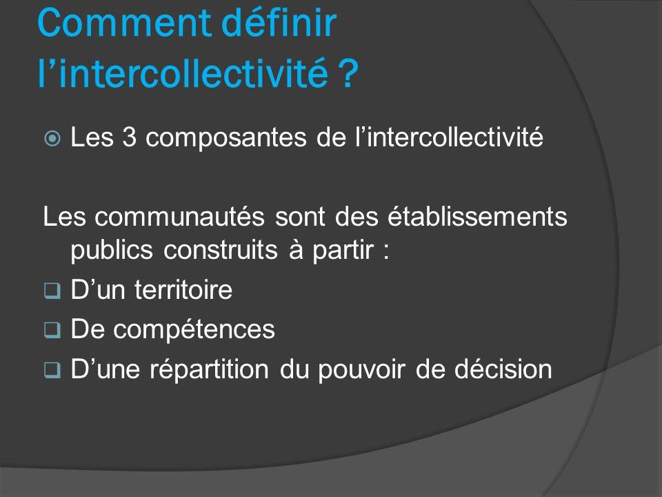 Les 3 composantes de lintercollectivité Les communautés sont des établissements publics construits à partir : Dun territoire De compétences Dune répar
