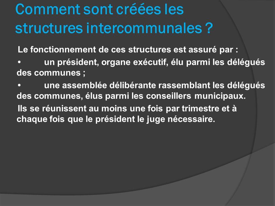 Le fonctionnement de ces structures est assuré par : un président, organe exécutif, élu parmi les délégués des communes ; une assemblée délibérante ra