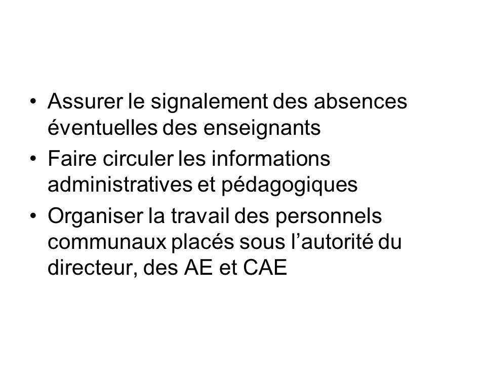 Assurer le signalement des absences éventuelles des enseignants Faire circuler les informations administratives et pédagogiques Organiser la travail des personnels communaux placés sous lautorité du directeur, des AE et CAE