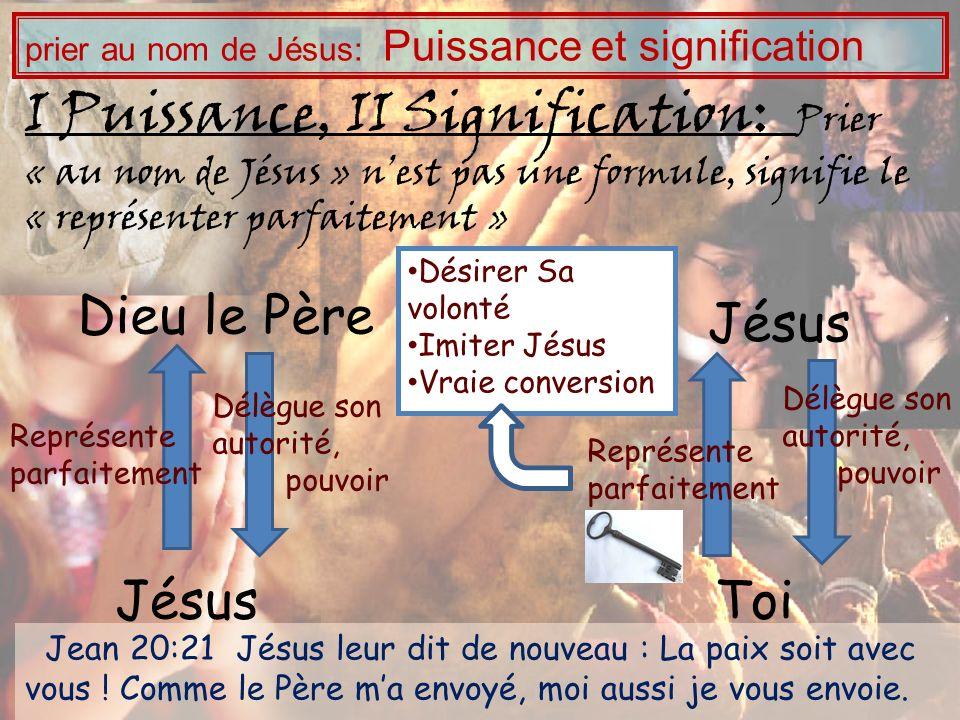I Puissance, II Signification: Prier « au nom de Jésus » nest pas une formule, signifie le « représenter parfaitement » Jésus Toi Délègue son autorité
