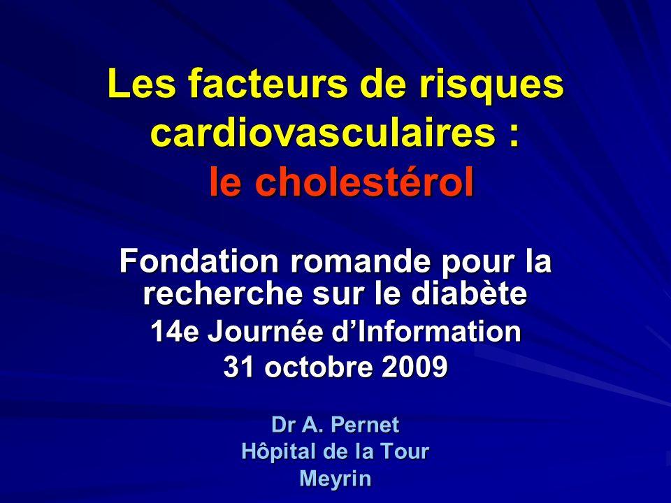 Les facteurs de risques cardiovasculaires : le cholestérol Fondation romande pour la recherche sur le diabète 14e Journée dInformation 31 octobre 2009
