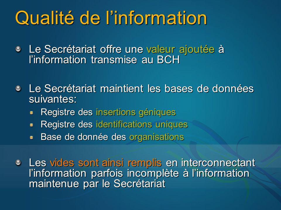 Qualité de linformation Le Secrétariat offre une valeur ajoutée à linformation transmise au BCH Le Secrétariat maintient les bases de données suivante