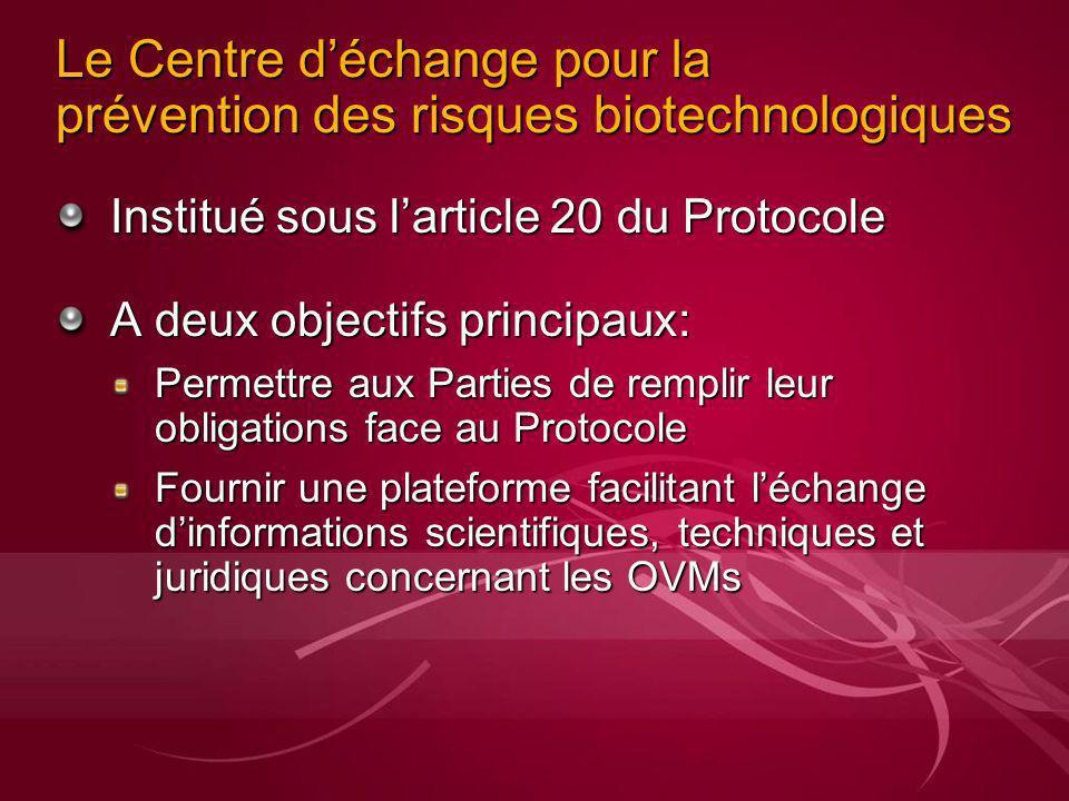Le Centre déchange pour la prévention des risques biotechnologiques Institué sous larticle 20 du Protocole A deux objectifs principaux: Permettre aux