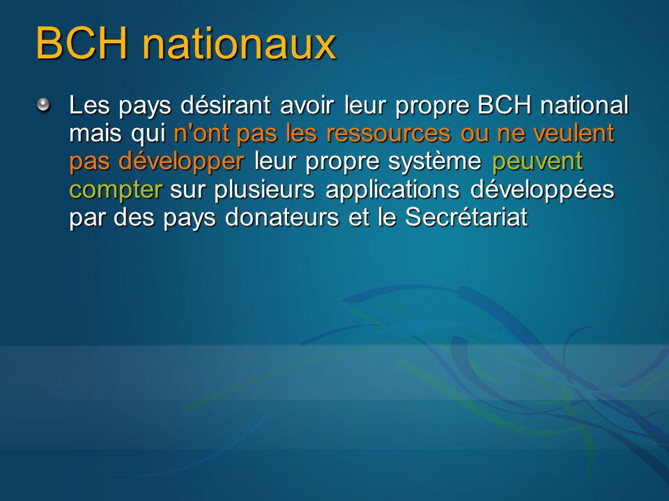 BCH nationaux Les pays désirant avoir leur propre BCH national mais qui n ont pas les ressources ou ne veulent pas développer leur propre système peuvent compter sur plusieurs applications développées par des pays donateurs et le Secrétariat