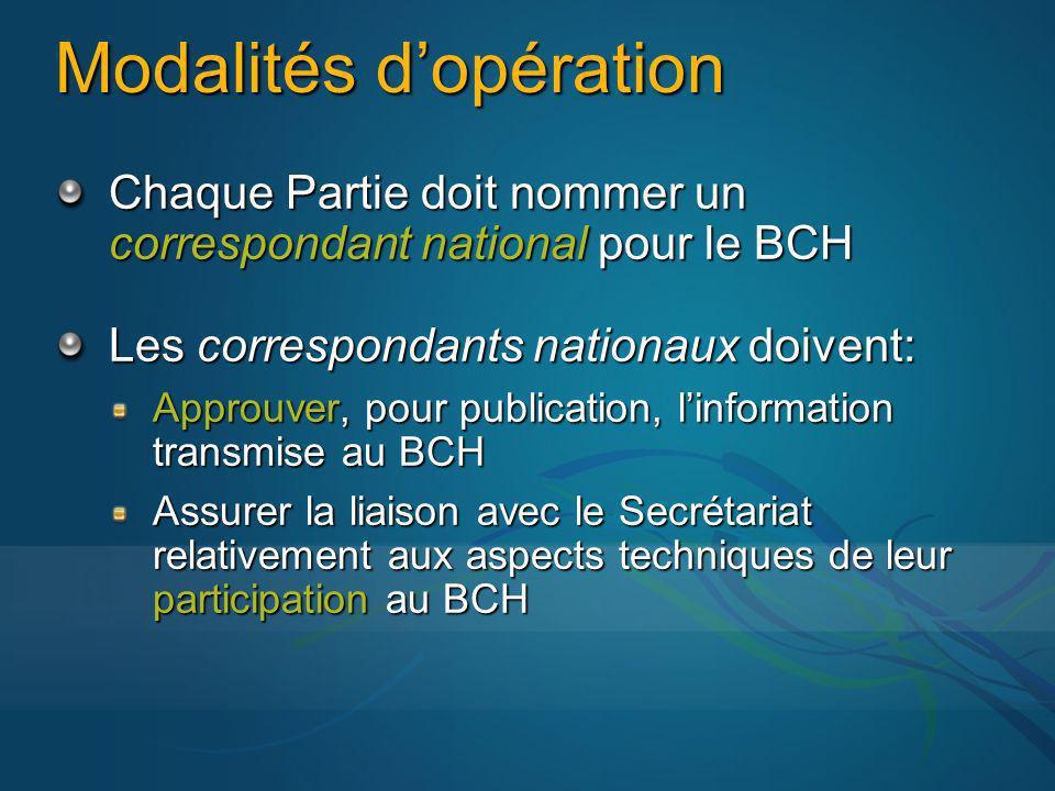 Modalités dopération Chaque Partie doit nommer un correspondant national pour le BCH Les correspondants nationaux doivent: Approuver, pour publication