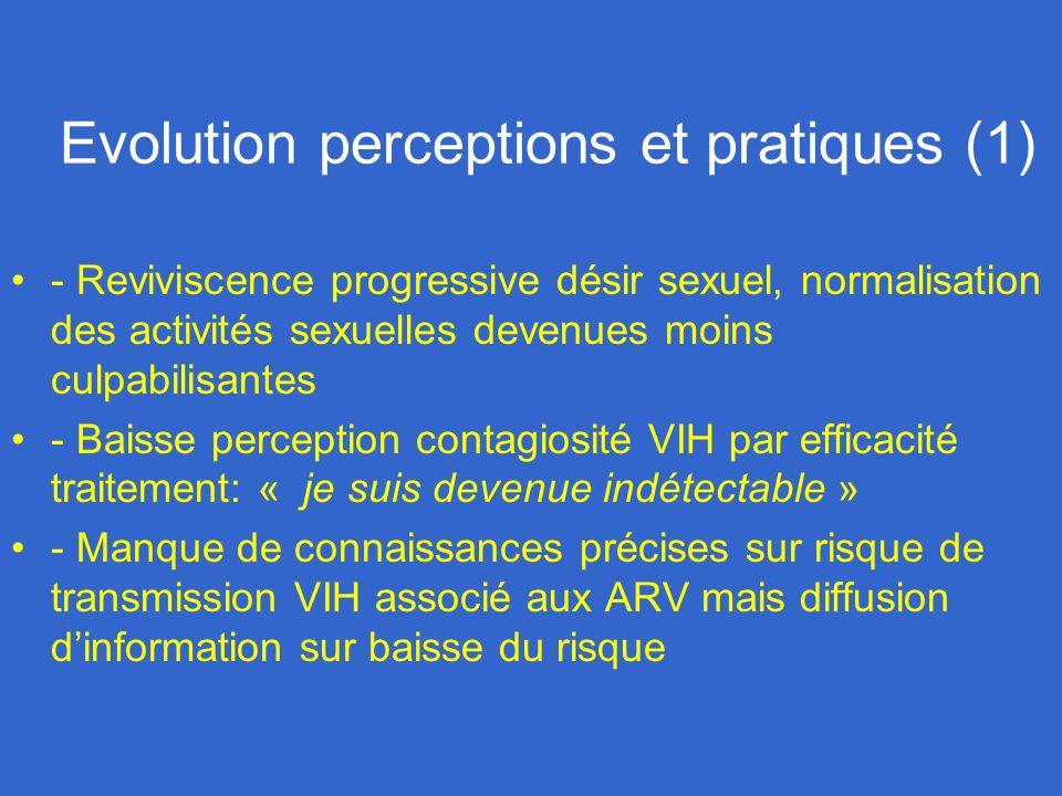 Evolution perceptions et pratiques (1) - Reviviscence progressive désir sexuel, normalisation des activités sexuelles devenues moins culpabilisantes -