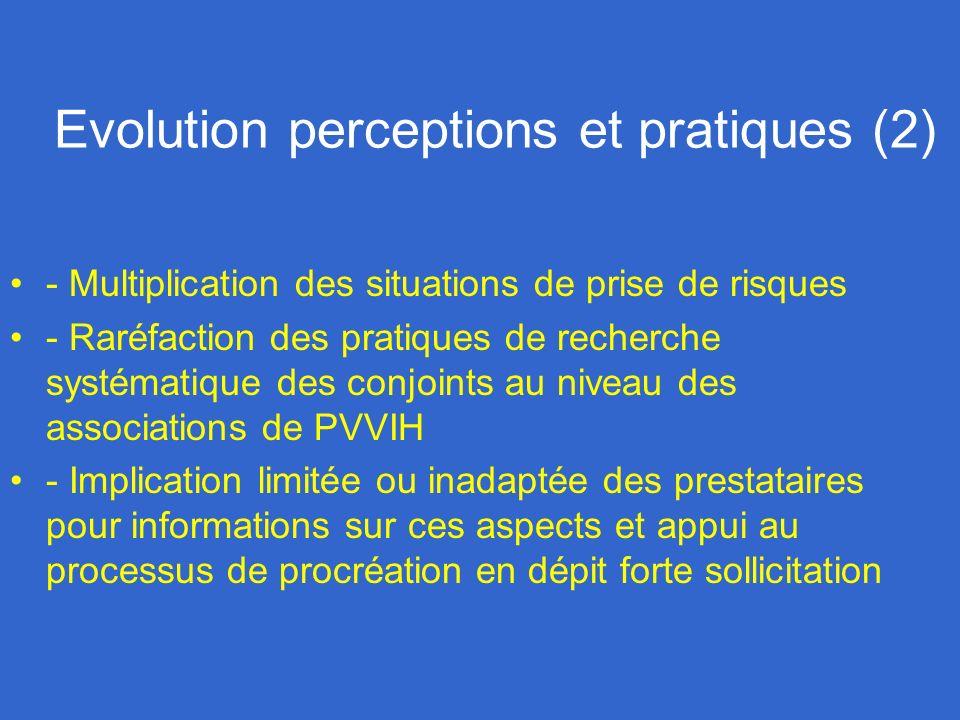 Evolution perceptions et pratiques (2) - Multiplication des situations de prise de risques - Raréfaction des pratiques de recherche systématique des c