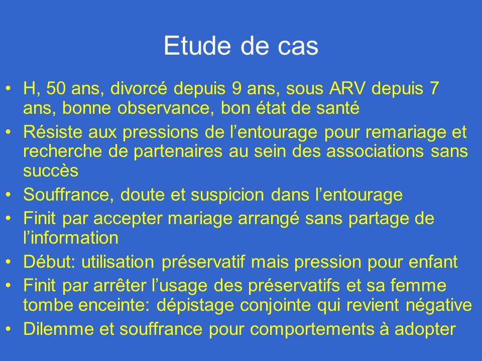 Etude de cas H, 50 ans, divorcé depuis 9 ans, sous ARV depuis 7 ans, bonne observance, bon état de santé Résiste aux pressions de lentourage pour rema