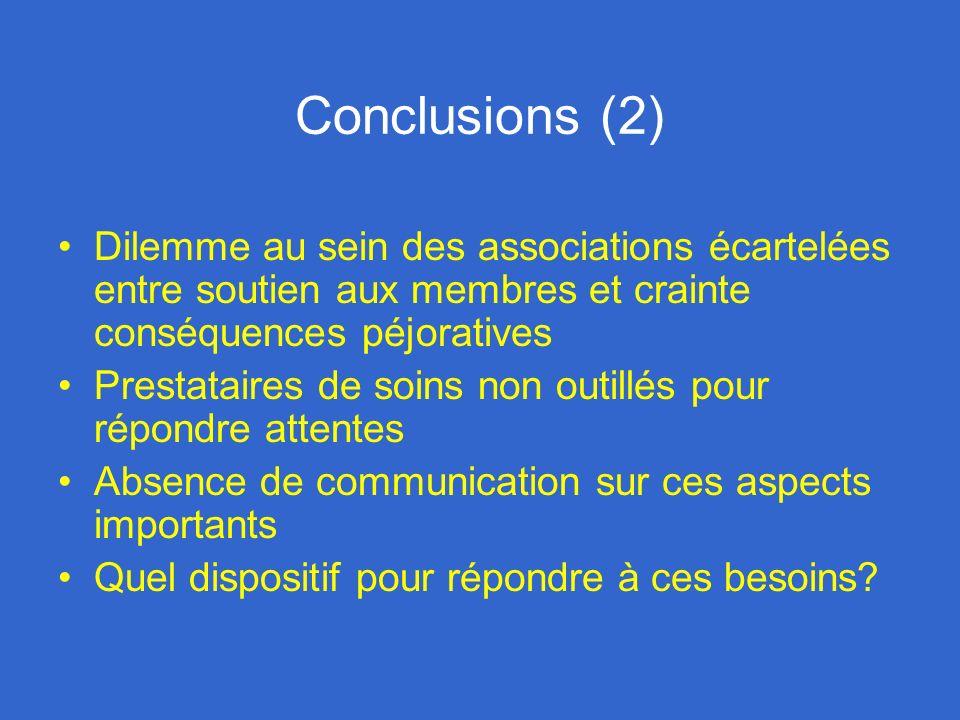 Conclusions (2) Dilemme au sein des associations écartelées entre soutien aux membres et crainte conséquences péjoratives Prestataires de soins non ou