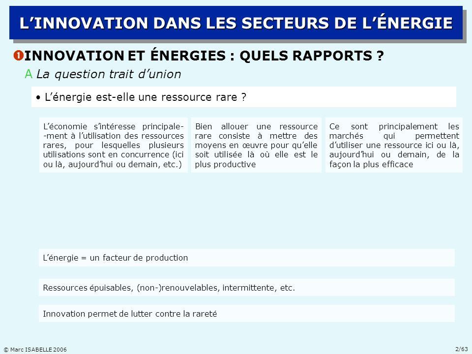 © Marc ISABELLE 2006 23/63 Ž LA RÉVOLUTION TECHNOLOGIQUE EN E&P DHYDROCARBURES LINNOVATION DANS LES SECTEURS DE LÉNERGIE C DEUX RÉGIMES TECHNOLOGIQUES DIFFÉRENCIÉS : PRATIQUE Les coûts : limites des technologies existantes en 1973 Source : Chevalier, (1973) : Le nouvel enjeu pétrolier, p.80 Southern Gas Basin : profondeur deau max = 50 m fréq(vagues > 2,5m) ~ 6% du temps on sait faire Viking Graben : profondeur deau min 100m max 250m fréq(vagues > 2,5m) ~ 35% du temps tempêtes, froid, … on ne sait pas faire; ex.