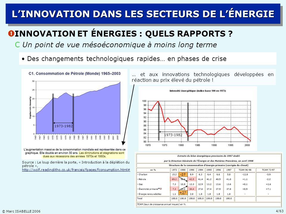 © Marc ISABELLE 2006 25/63 Ž LA RÉVOLUTION TECHNOLOGIQUE EN E&P DHYDROCARBURES LINNOVATION DANS LES SECTEURS DE LÉNERGIE C DEUX RÉGIMES TECHNOLOGIQUES DIFFÉRENCIÉS : PRATIQUE Côté outputs : les critères de performances opérationnelles 1970198019902000 années Profondeur deau (offshore): + exploration500 m2200 m2700 m + production100 m 500 m1900 m Taux de succès en exploration10 %20 % Taux de récupération15-20 %30-35 % des réserves Déport horizontal de puits2,5 km6,1 km10,6 km Durée dune campagne18 mois6 mois sismique 3D de 1000 km 2 Durée dune phase de5-7 ans2-3 ans développement standard