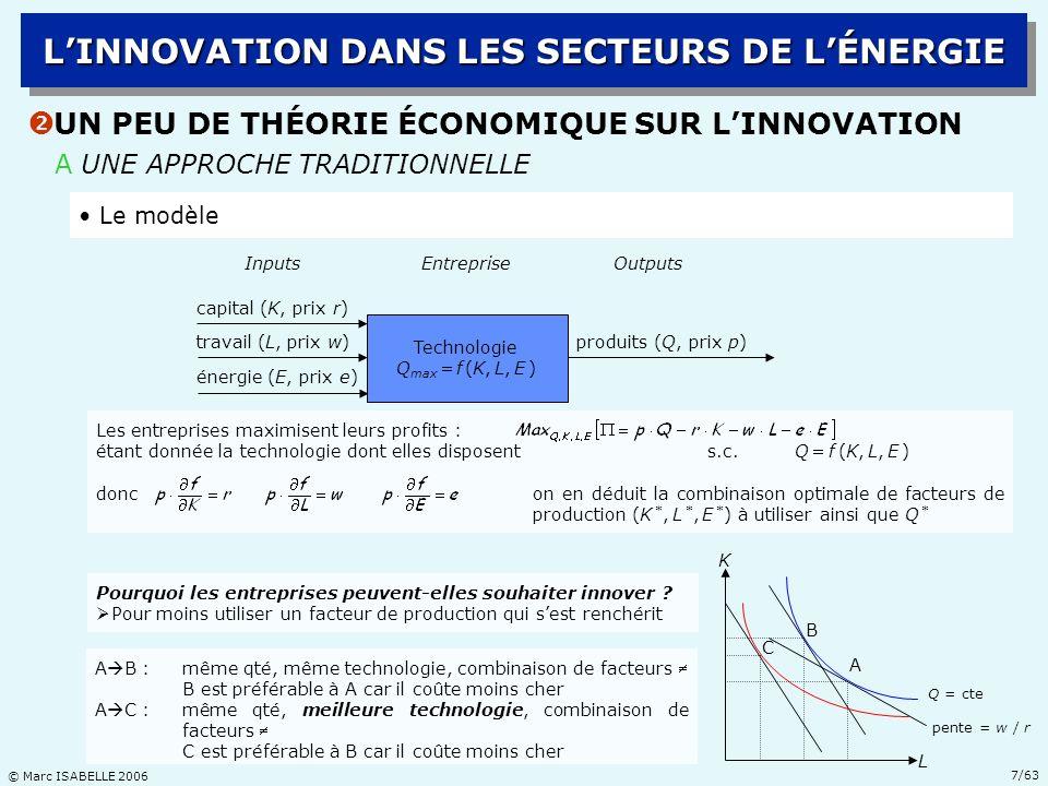 © Marc ISABELLE 2006 18/63 B LB LA STRUCTURE DE LINDUSTRIE PÉTROLIÈRE Ž LA RÉVOLUTION TECHNOLOGIQUE EN E&P DHYDROCARBURES LINNOVATION DANS LES SECTEURS DE LÉNERGIE Une industrie verticalement séparable… mais intégrée En amont, lexploration-production dhydrocarbures : très capitalistique, très risquée, prend beaucoup de temps, potentiellement très profitable ; aspects technologiques, contractuels et fiscaux primordiaux Entre lamont et le milieu, le transport : capitalistique ; aspects stratégiques primordiaux En aval, la distribution : moins capitalistique, très concurrentielle ; aspects marketing primordiaux Au milieu, le raffinage : capitalistique, très concurrentiel ; aspects technologiques et environnementaux primordiaux Un grand nombre de compagnies pétrolières sont présentes sur tous les segments ; cela favorise la sécurité des approvisionnements * et la diversification des risquesla diversification des risques (* Le marché pétrolier mondial se développe à partir du milieu des années 1970 ; avant 1973, plus de 70% des flux de pétrole font lobjet de cessions internes aux compagnies pétrolières)