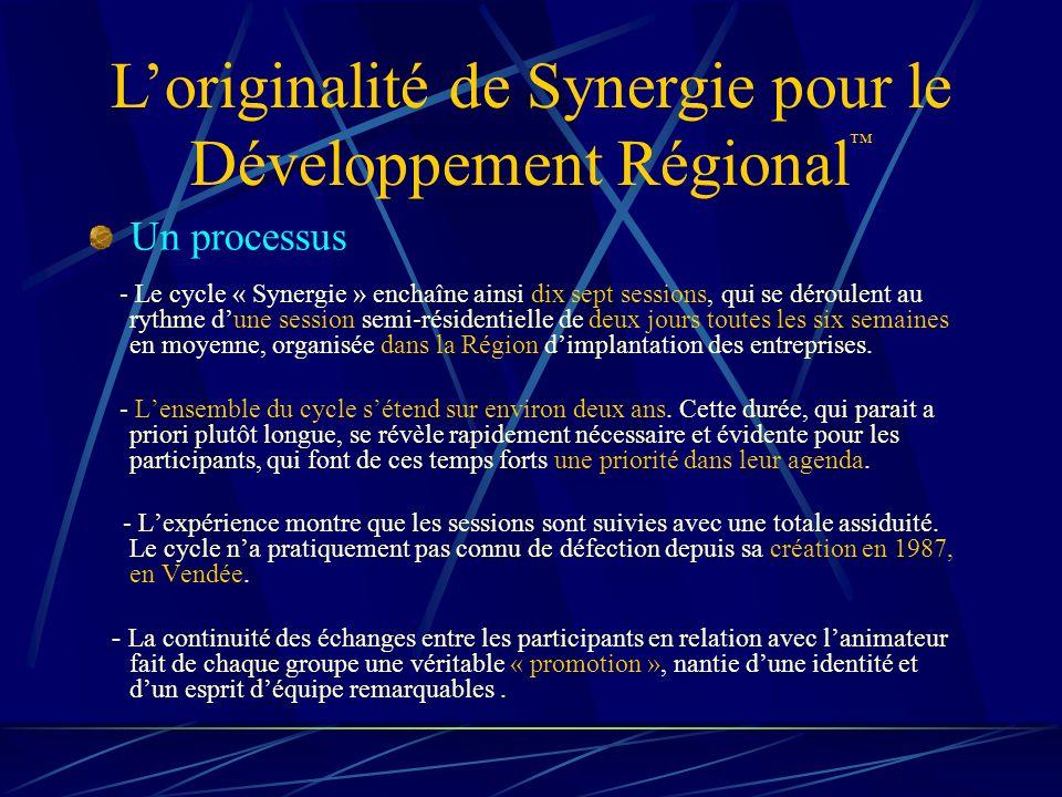 Loriginalité de Synergie pour le Développement Régional Un processus - Le cycle « Synergie » enchaîne ainsi dix sept sessions, qui se déroulent au rythme dune session semi-résidentielle de deux jours toutes les six semaines en moyenne, organisée dans la Région dimplantation des entreprises.