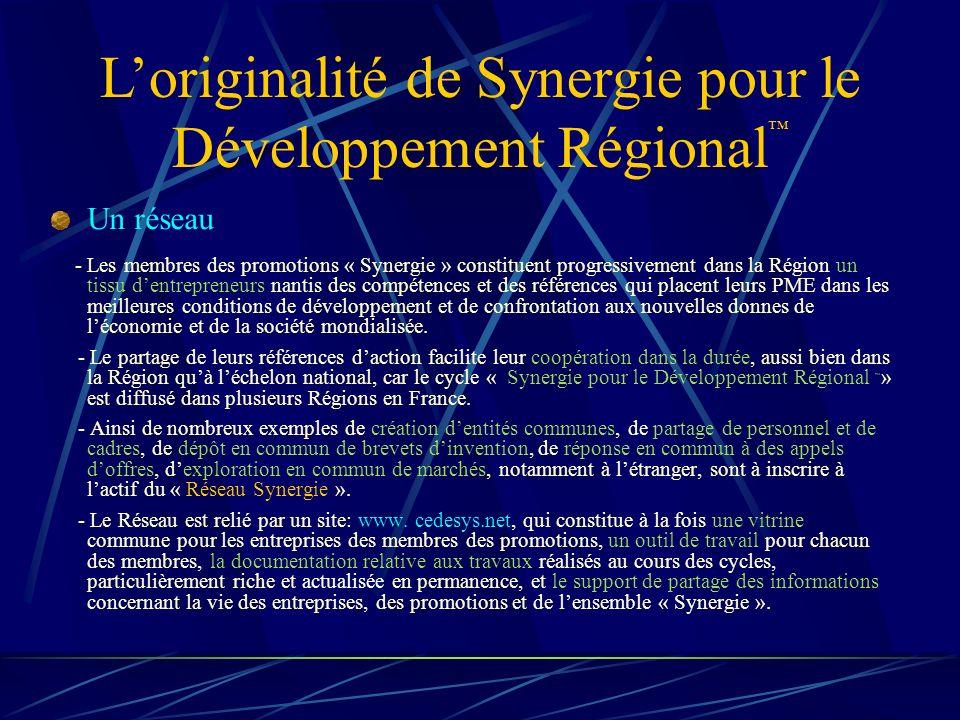 Loriginalité de Synergie pour le Développement Régional Un réseau - Les membres des promotions « Synergie » constituent progressivement dans la Région un tissu dentrepreneurs nantis des compétences et des références qui placent leurs PME dans les meilleures conditions de développement et de confrontation aux nouvelles donnes de léconomie et de la société mondialisée.