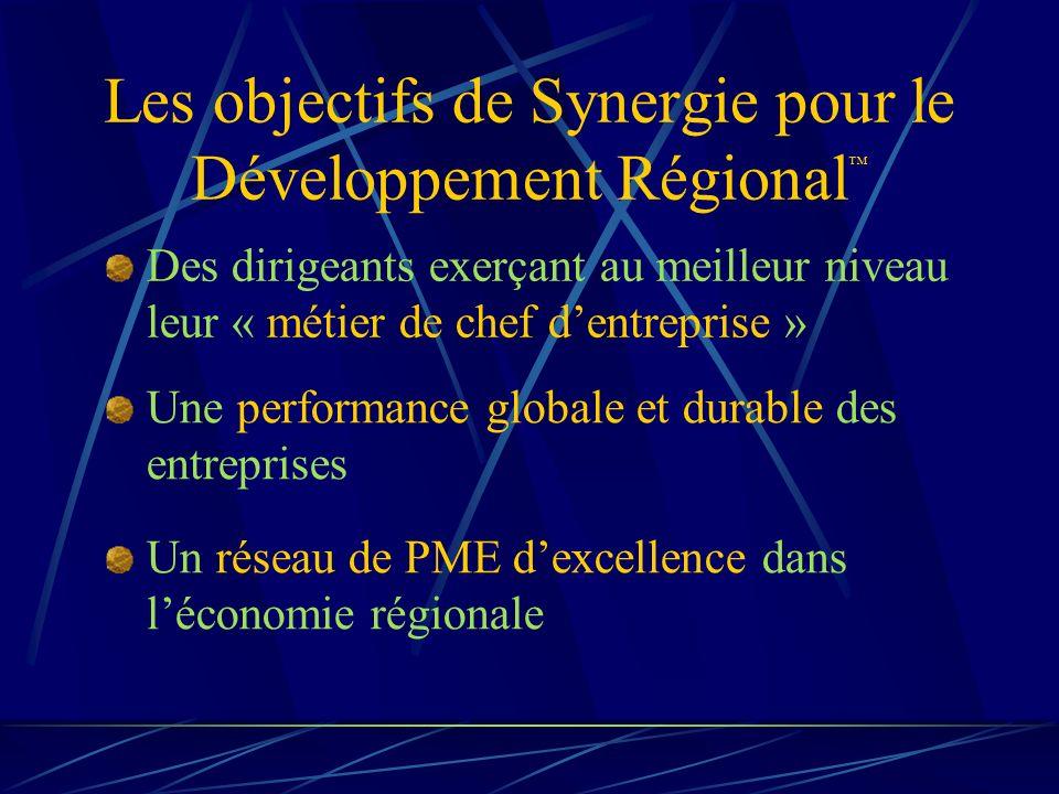 Les objectifs de Synergie pour le Développement Régional Des dirigeants exerçant au meilleur niveau leur « métier de chef dentreprise » Une performance globale et durable des entreprises Un réseau de PME dexcellence dans léconomie régionale