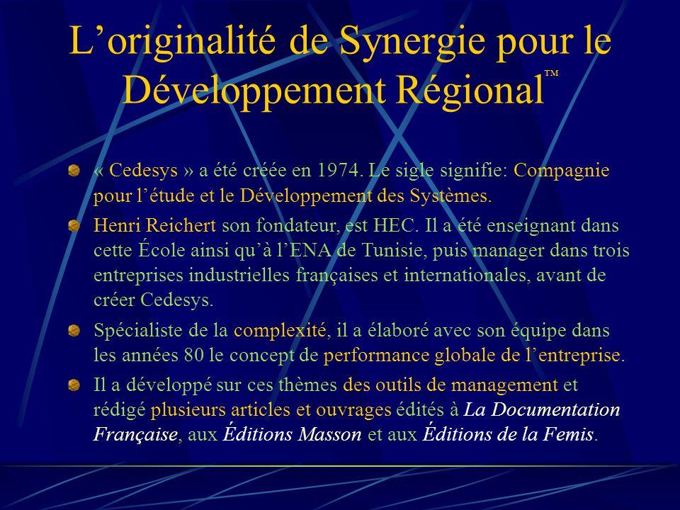 Loriginalité de Synergie pour le Développement Régional « Cedesys » a été créée en 1974.