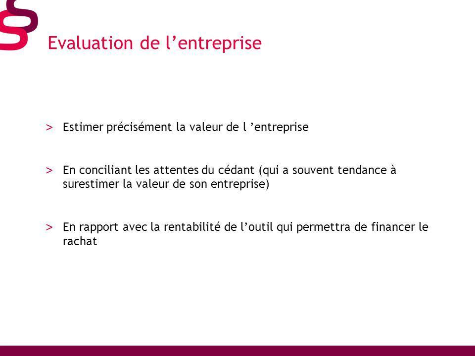 Evaluation de lentreprise > Estimer précisément la valeur de l entreprise > En conciliant les attentes du cédant (qui a souvent tendance à surestimer la valeur de son entreprise) > En rapport avec la rentabilité de loutil qui permettra de financer le rachat