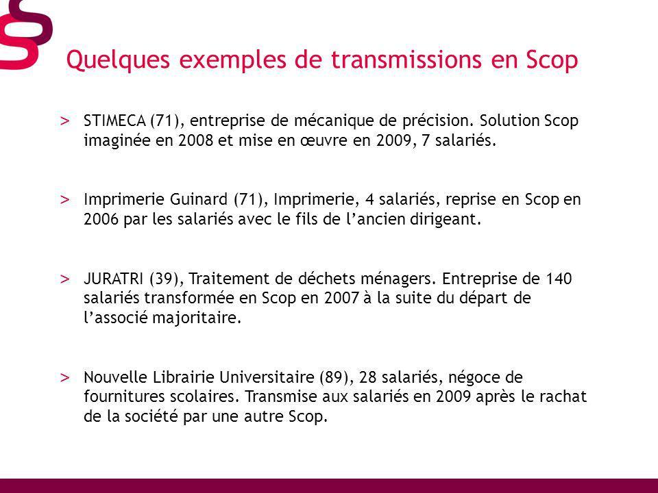 Quelques exemples de transmissions en Scop > STIMECA (71), entreprise de mécanique de précision.