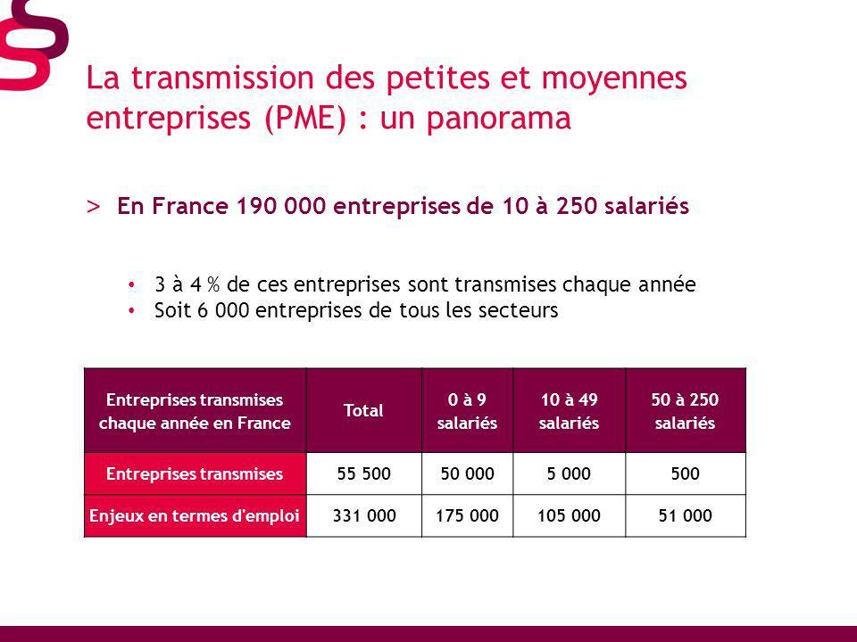 La transmission des petites et moyennes entreprises (PME) : un panorama > En France 190 000 entreprises de 10 à 250 salariés 3 à 4 % de ces entreprises sont transmises chaque année Soit 6 000 entreprises de tous les secteurs Entreprises transmises chaque année en France Total 0 à 9 salariés 10 à 49 salariés 50 à 250 salariés Entreprises transmises55 50050 0005 000500 Enjeux en termes d emploi331 000175 000105 00051 000