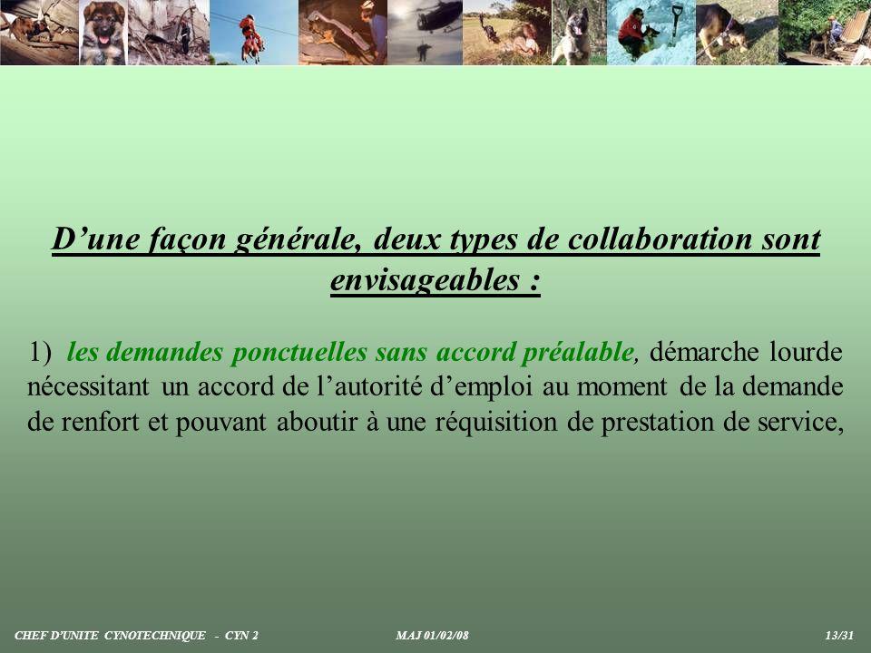 Dune façon générale, deux types de collaboration sont envisageables : 1) les demandes ponctuelles sans accord préalable, démarche lourde nécessitant u