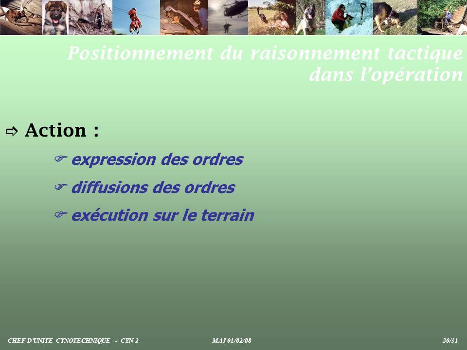 Action : expression des ordres diffusions des ordres exécution sur le terrain Positionnement du raisonnement tactique dans lopération CHEF DUNITE CYNO