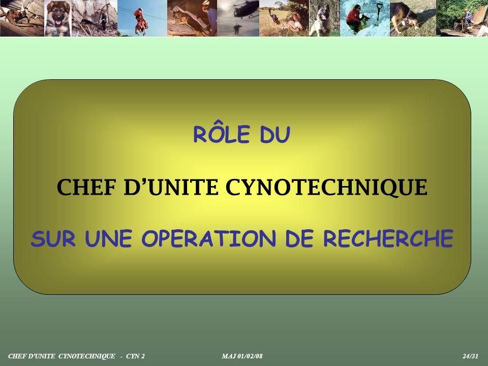 RÔLE DU CHEF DUNITE CYNOTECHNIQUE SUR UNE OPERATION DE RECHERCHE CHEF DUNITE CYNOTECHNIQUE - CYN 2 MAJ 01/02/08 24/31