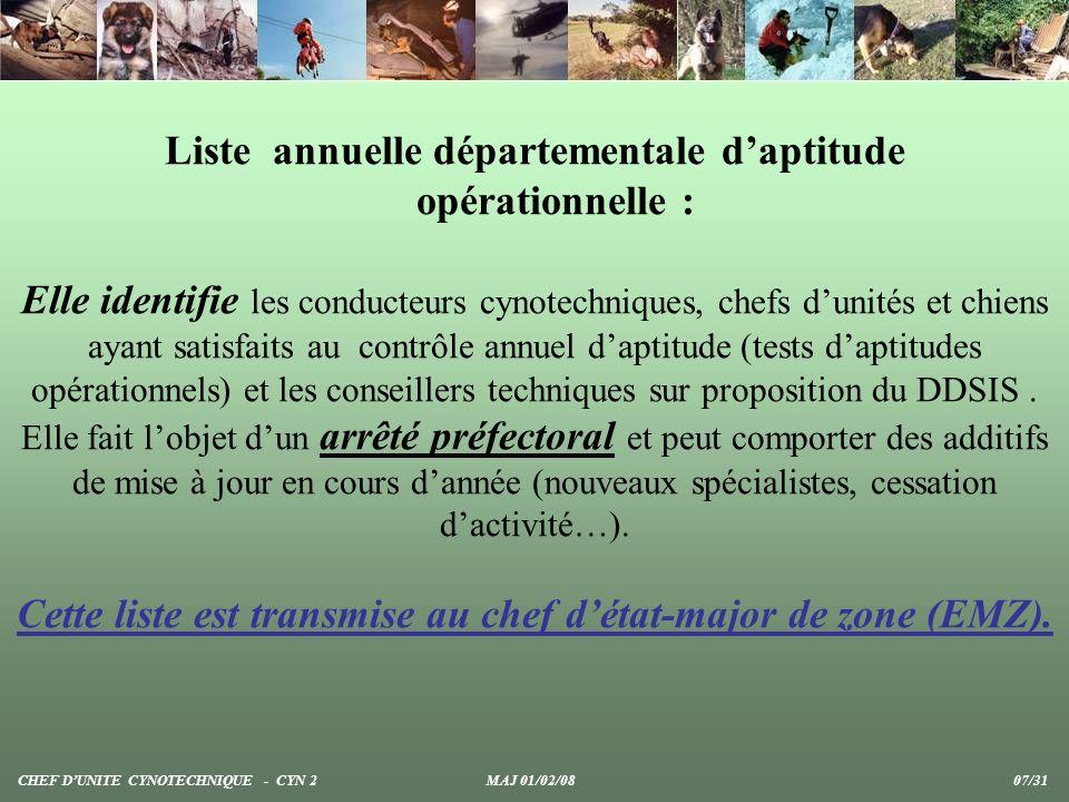 Liste annuelle départementale daptitude opérationnelle : Elle identifie les conducteurs cynotechniques, chefs dunités et chiens ayant satisfaits au co
