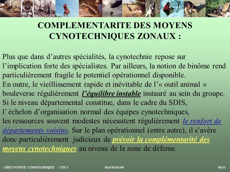 COMPLEMENTARITE DES MOYENS CYNOTECHNIQUES ZONAUX : Plus que dans dautres spécialités, la cynotechnie repose sur limplication forte des spécialistes. P