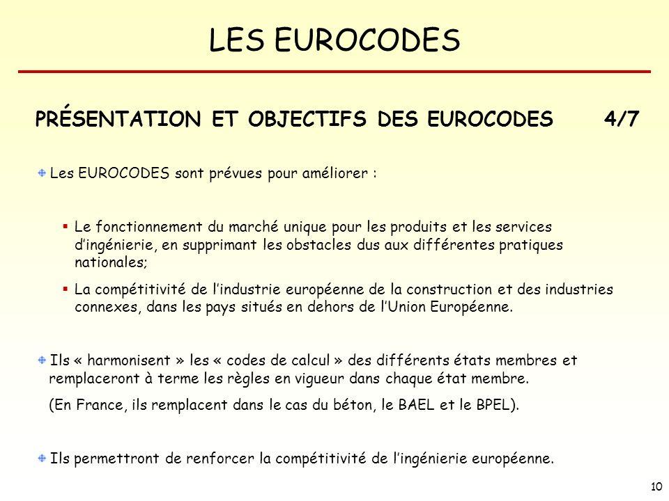 LES EUROCODES 10 Les EUROCODES sont prévues pour améliorer : Le fonctionnement du marché unique pour les produits et les services dingénierie, en supp