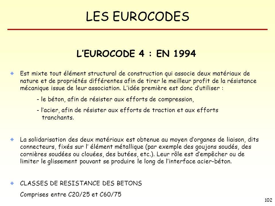 LES EUROCODES 102 LEUROCODE 4 : EN 1994 Est mixte tout élément structural de construction qui associe deux matériaux de nature et de propriétés différ