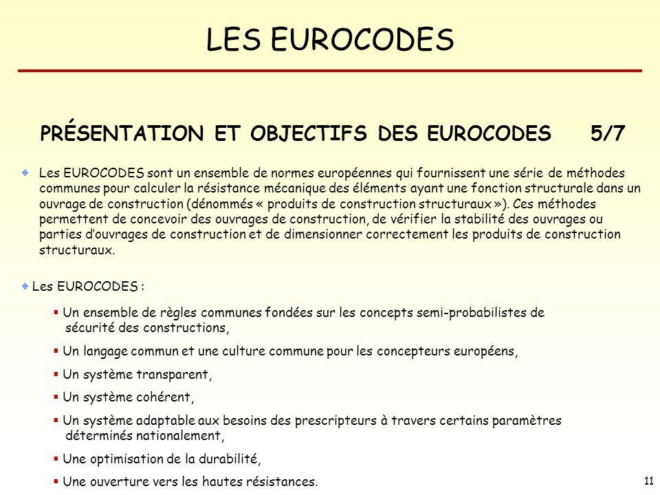LES EUROCODES 11 PRÉSENTATION ET OBJECTIFS DES EUROCODES Les EUROCODES sont un ensemble de normes européennes qui fournissent une série de méthodes co