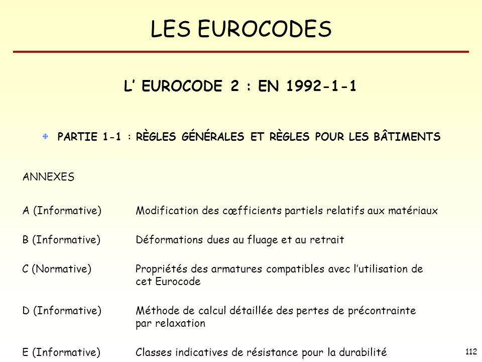 LES EUROCODES 112 PARTIE 1-1 : RÈGLES GÉNÉRALES ET RÈGLES POUR LES BÂTIMENTS ANNEXES A (Informative) Modification des cœfficients partiels relatifs au