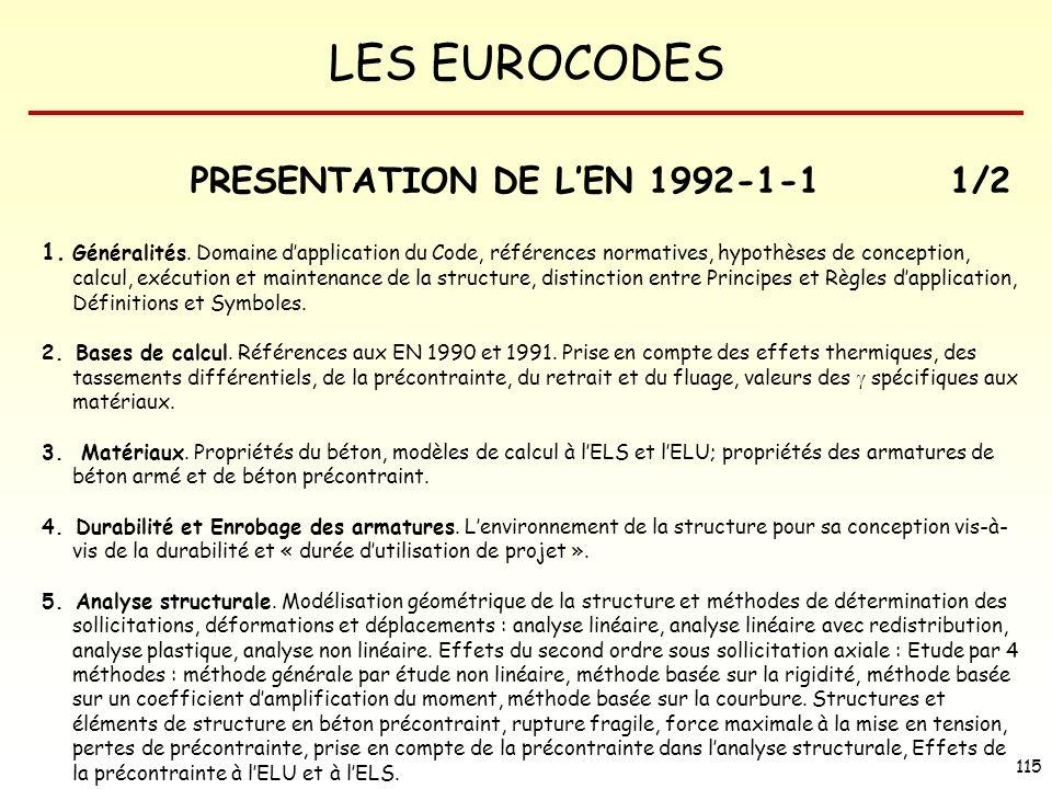 LES EUROCODES 115 PRESENTATION DE LEN 1992-1-11/2 1. Généralités. Domaine dapplication du Code, références normatives, hypothèses de conception, calcu
