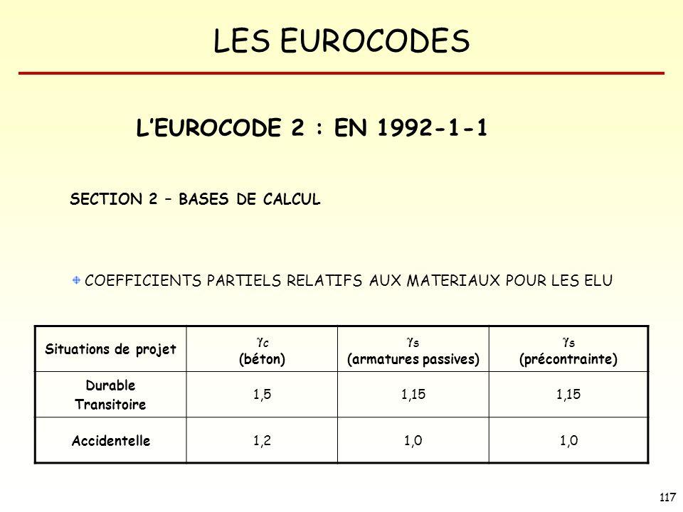 LES EUROCODES 117 LEUROCODE 2 : EN 1992-1-1 SECTION 2 – BASES DE CALCUL COEFFICIENTS PARTIELS RELATIFS AUX MATERIAUX POUR LES ELU Situations de projet