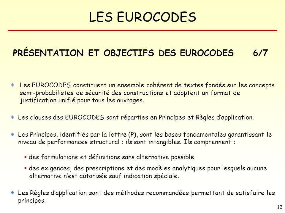 LES EUROCODES 12 PRÉSENTATION ET OBJECTIFS DES EUROCODES Les EUROCODES constituent un ensemble cohérent de textes fondés sur les concepts semi-probabi