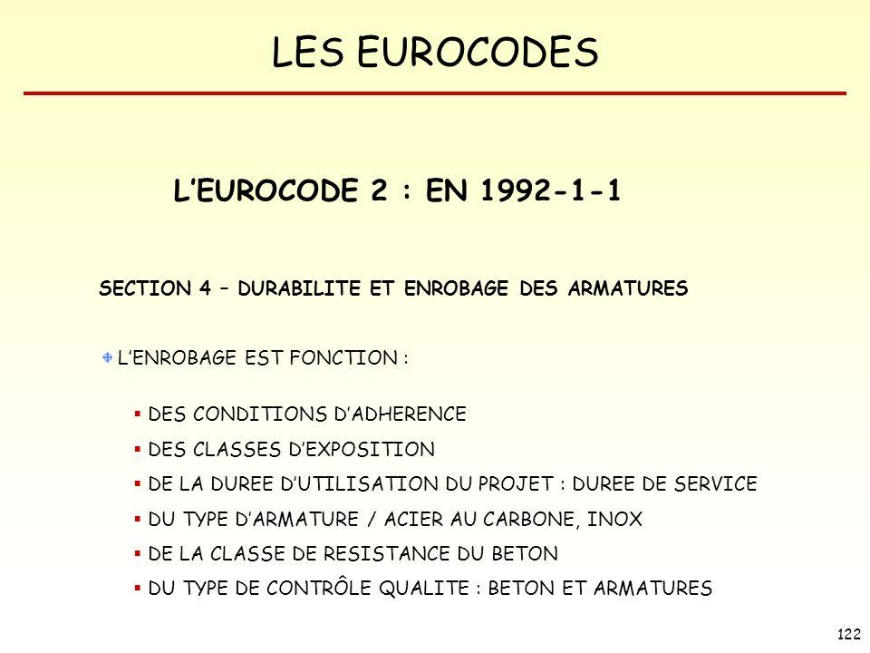 LES EUROCODES 122 LEUROCODE 2 : EN 1992-1-1 SECTION 4 – DURABILITE ET ENROBAGE DES ARMATURES LENROBAGE EST FONCTION : DES CONDITIONS DADHERENCE DES CL