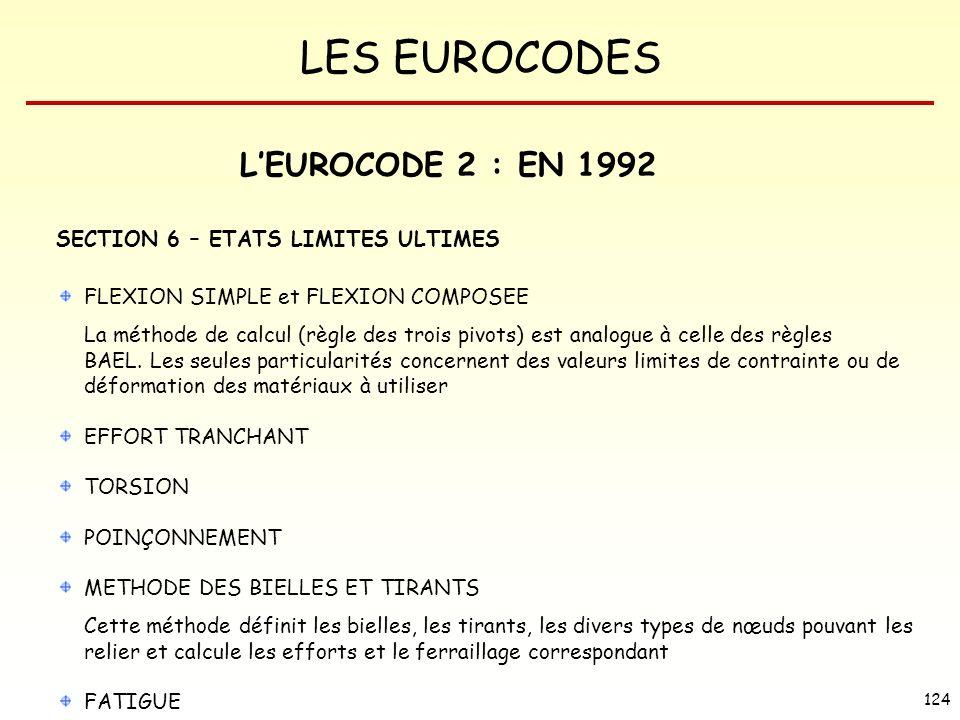 LES EUROCODES 124 LEUROCODE 2 : EN 1992 SECTION 6 – ETATS LIMITES ULTIMES FLEXION SIMPLE et FLEXION COMPOSEE La méthode de calcul (règle des trois piv