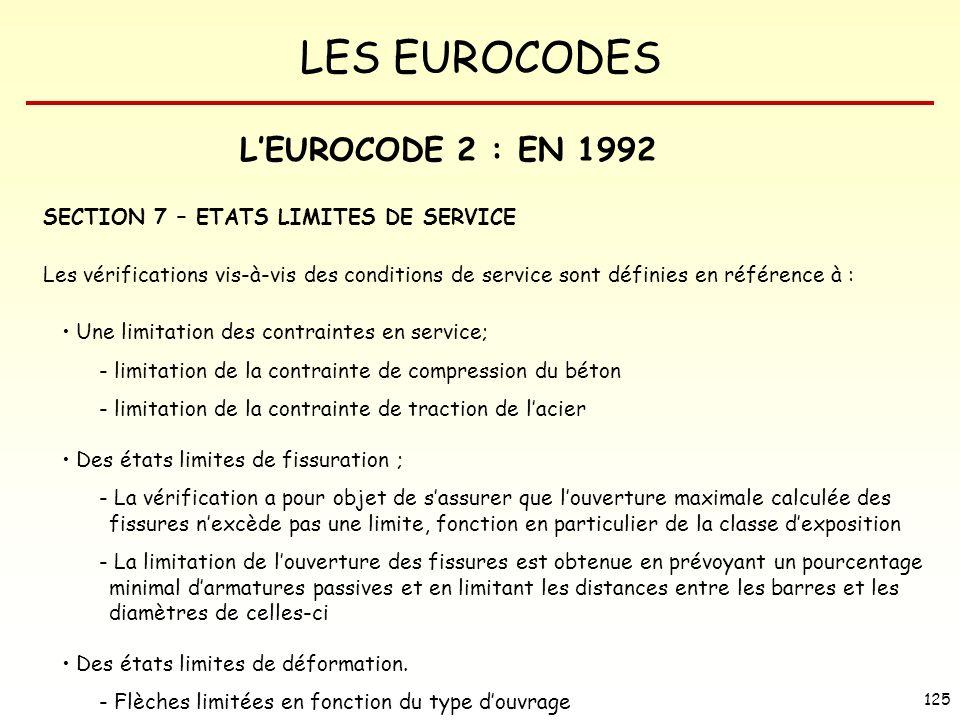 LES EUROCODES 125 LEUROCODE 2 : EN 1992 SECTION 7 – ETATS LIMITES DE SERVICE Les vérifications vis-à-vis des conditions de service sont définies en ré