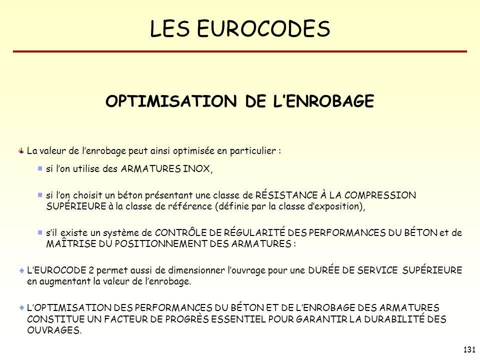 LES EUROCODES 131 La valeur de lenrobage peut ainsi optimisée en particulier : si lon utilise des ARMATURES INOX, si lon choisit un béton présentant u