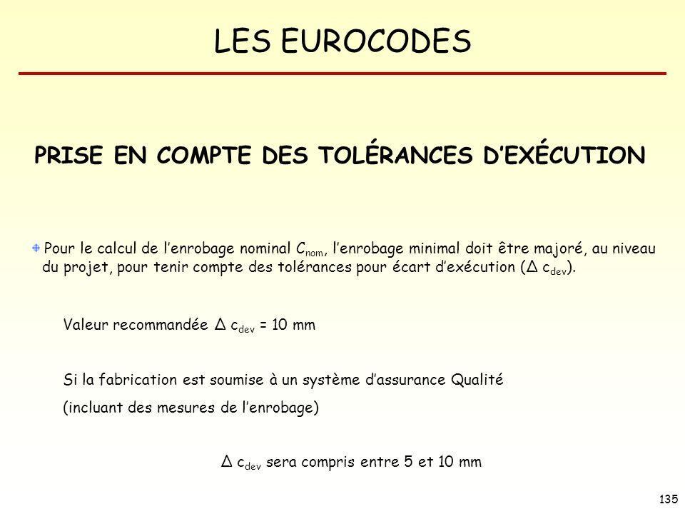 LES EUROCODES 135 PRISE EN COMPTE DES TOLÉRANCES DEXÉCUTION Pour le calcul de lenrobage nominal C nom, lenrobage minimal doit être majoré, au niveau d