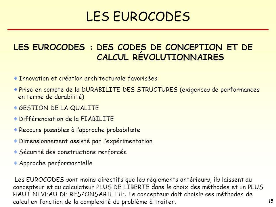 LES EUROCODES 15 LES EUROCODES : DES CODES DE CONCEPTION ET DE CALCUL RÉVOLUTIONNAIRES Innovation et création architecturale favorisées Prise en compt